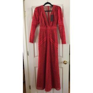 BCBG MAXAZRIA Mosaic Lace Red Gown